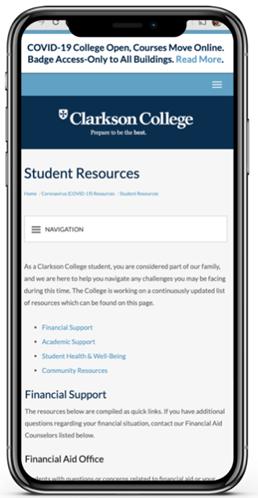 Screenshot of webpage on iPhone