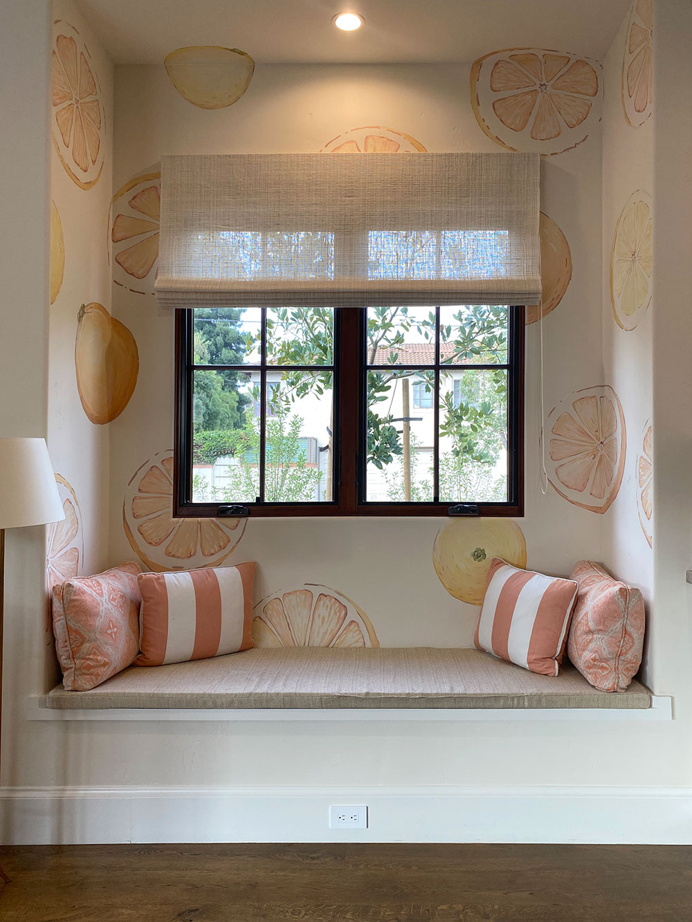 Splendid Citrus - Lemon and Orange Mural in Window Seat of House