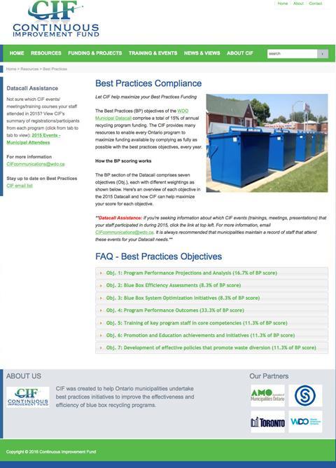 Best Practices Compliance webpage