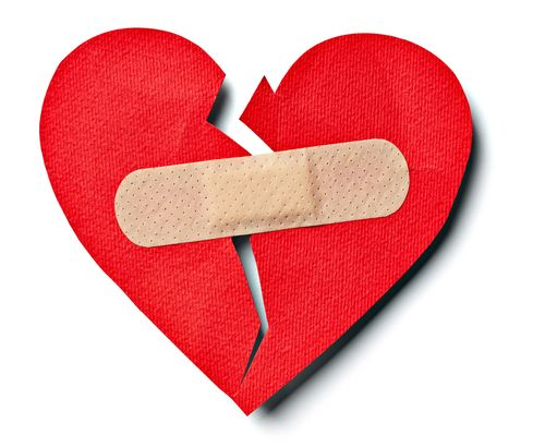broken heart fixed with a bandaid