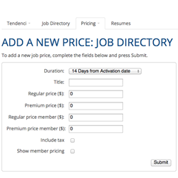 Add a Job Pricing Screenshot