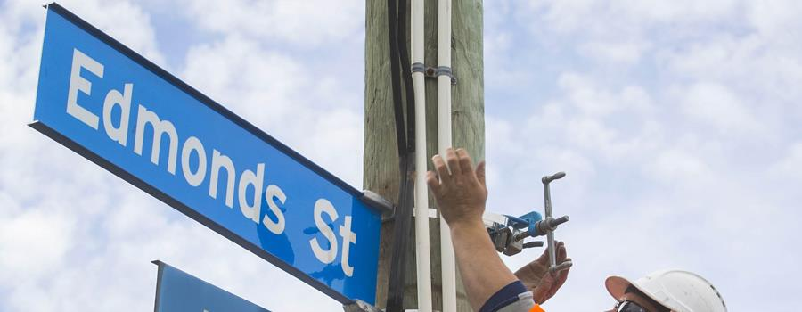 New street sign being installed