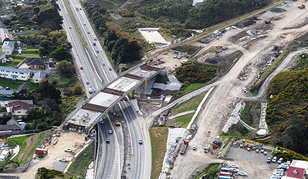 View looking north over the new northbound bridge over SH1 nearing completion.