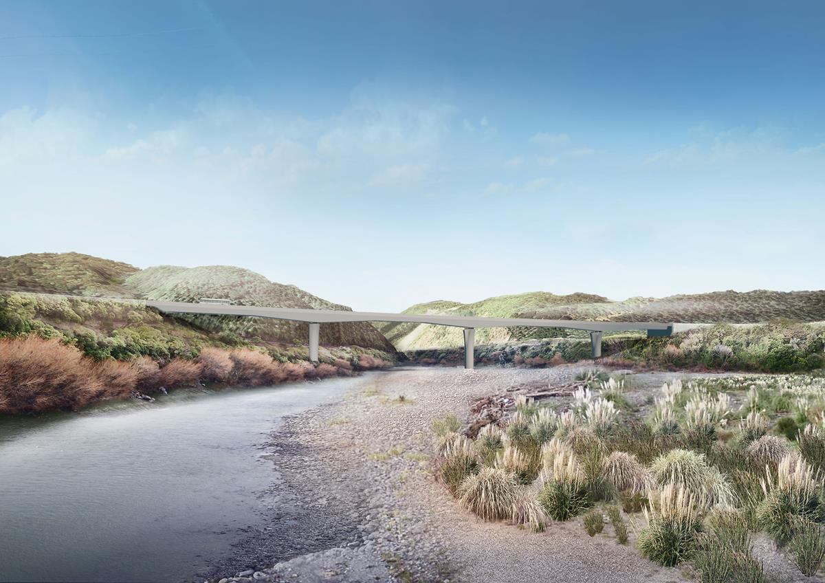 A rendered image of the bridge over the Manawatū River