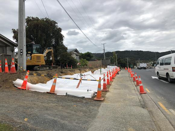 Above: Excavations for new retaining walls along Otaika Road