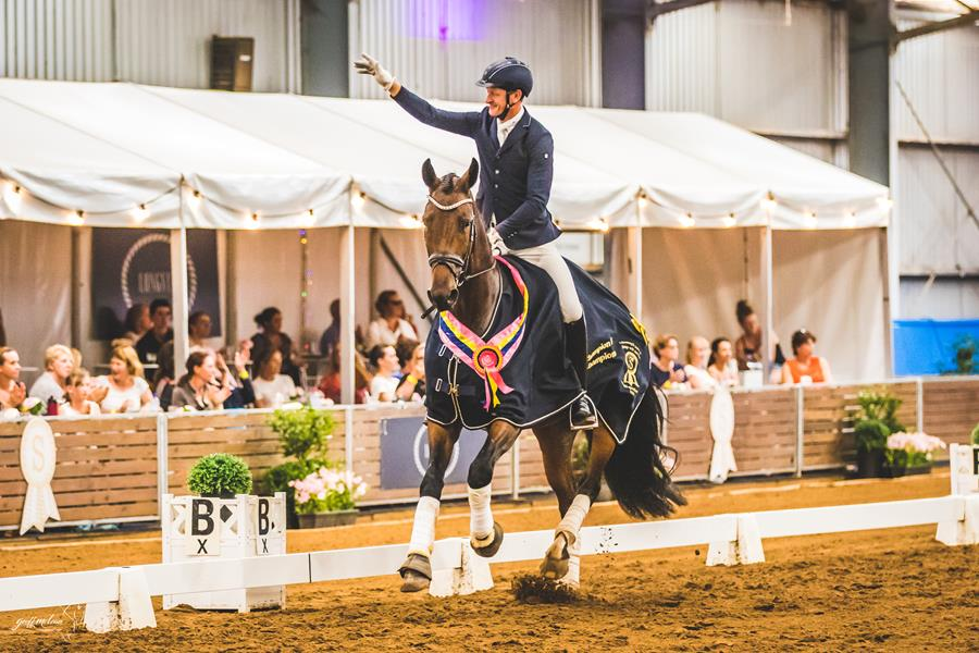 The Winner of PSI Dressage & Jumping with the Stars 2019 Champion of Champions Young Dressage Horse was the 5 YO Mare Willinga Park Emotion (Equitaris/Florestan) ridden by Brett Parbery  📷 Geoff McLean
