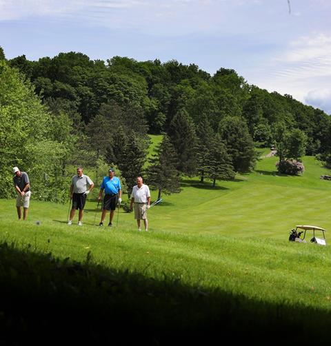 four golfers on a fairway.