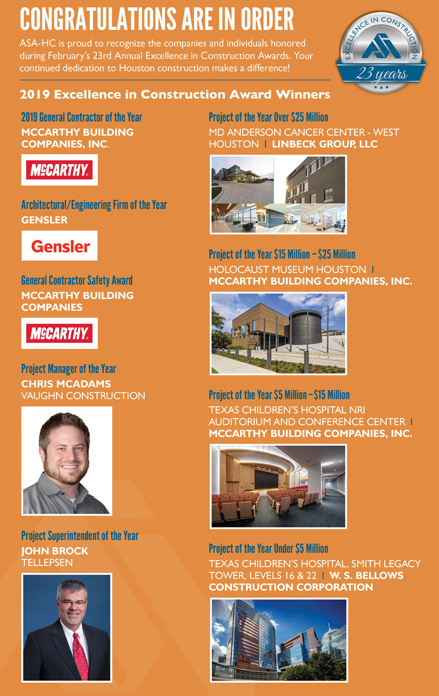 2019 Excellence in Construction Award Winners and Top Nominees