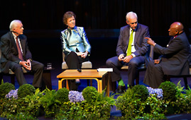 Jimmy Carter, Mary Robinson and Desmond Tutu on stage for a live debate celebrating five years of The Elders